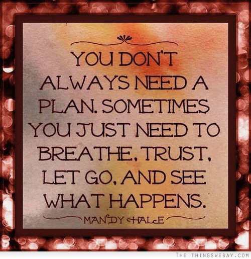 You don't always need a plan. Sometimes you just need to breathe, trust, let go and see what happens,